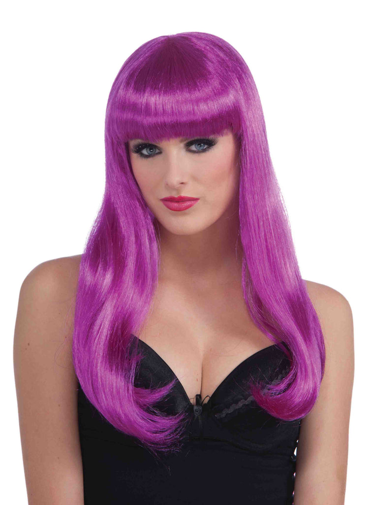 Purple Neon Halloween Wig Long Sexy