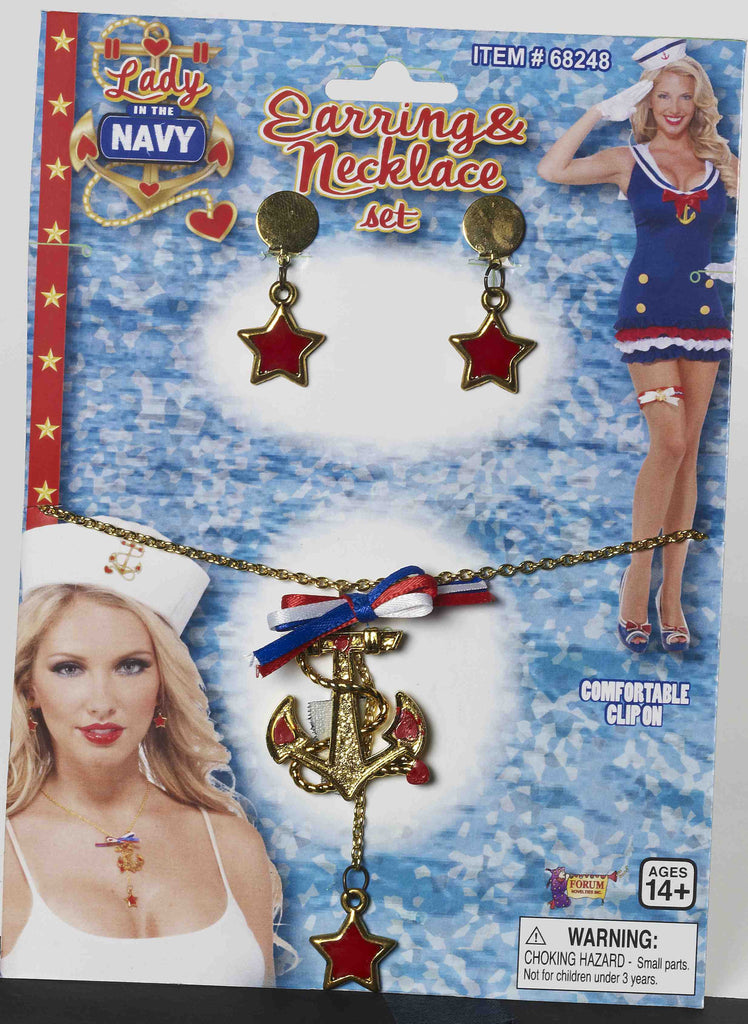 Lady In Navy Neck/Earrings Set - HalloweenCostumes4U.com - Accessories