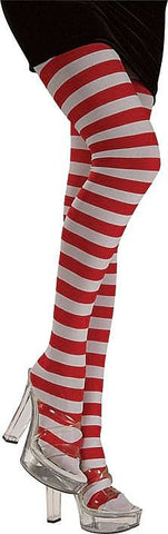 Women's Red/White Striped Tights