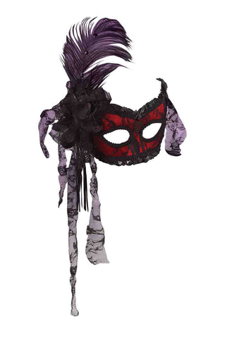 Costume Showgirl Mask Red/Black - HalloweenCostumes4U.com - Accessories
