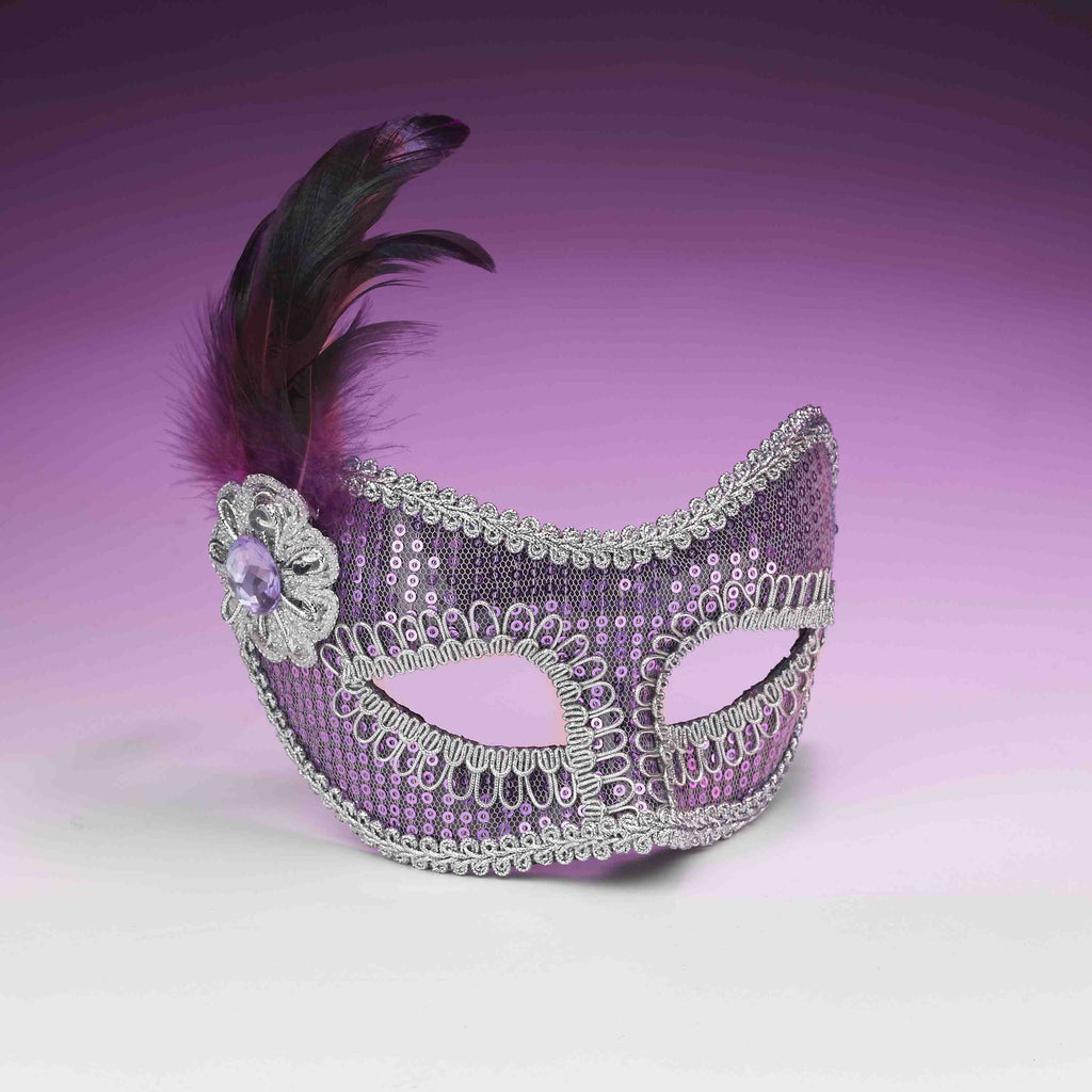 Sequin Eye Mask Purple - HalloweenCostumes4U.com - Accessories