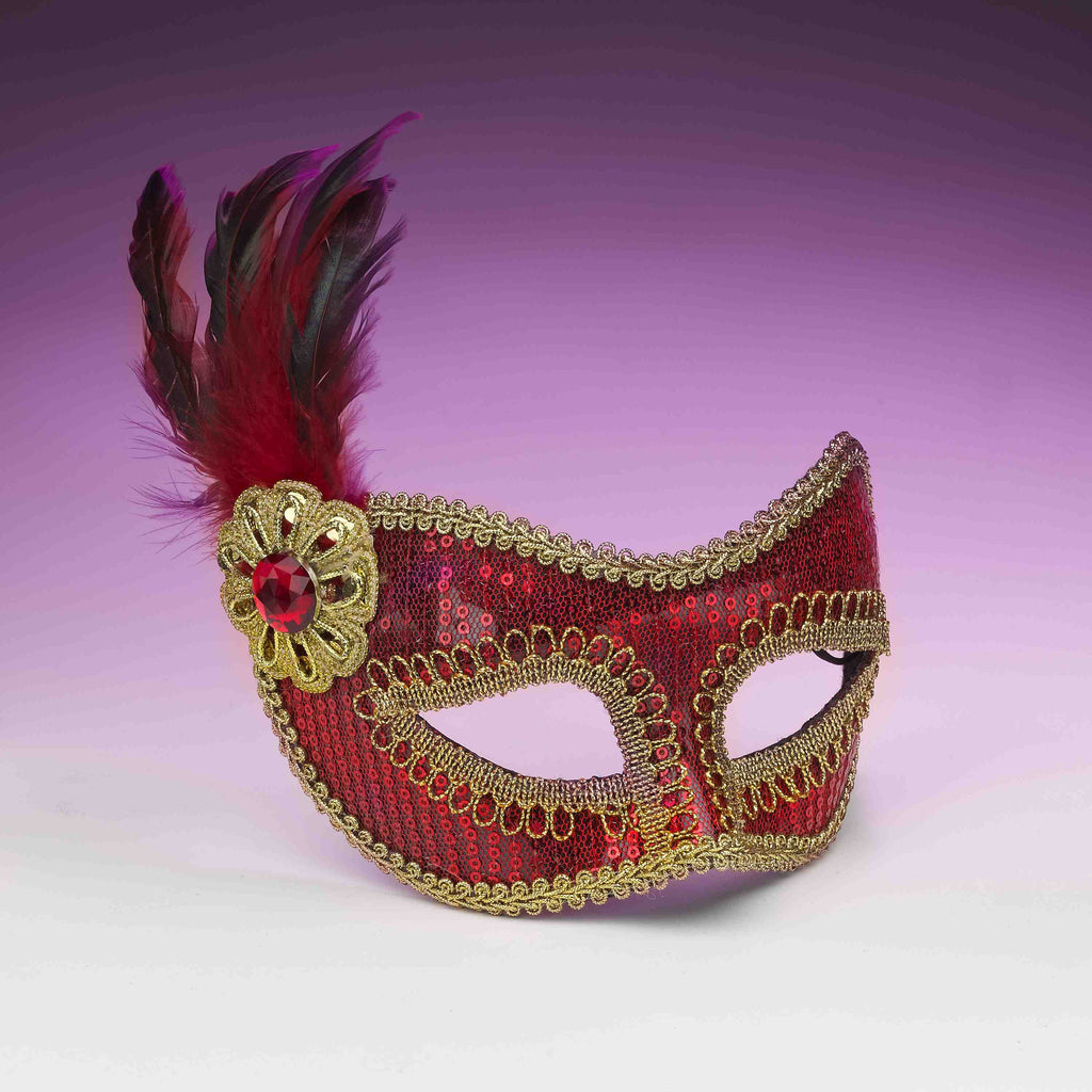 Sequin Costume Eye Mask Red