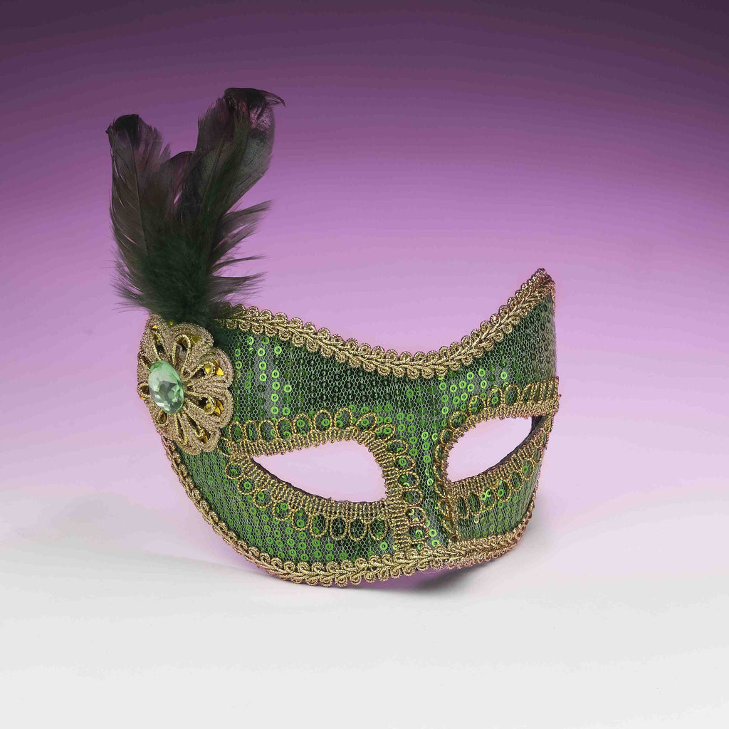 Sequin Eye Mask Green - HalloweenCostumes4U.com - Accessories