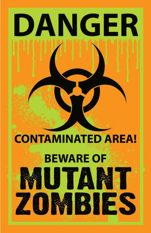 Mutant Zombie Warning Yard Sign - HalloweenCostumes4U.com - Decorations