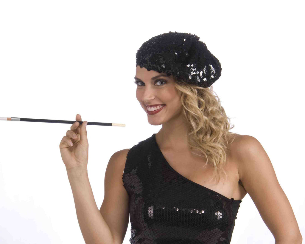 Flapper Sequin Beret-Black - HalloweenCostumes4U.com - Accessories
