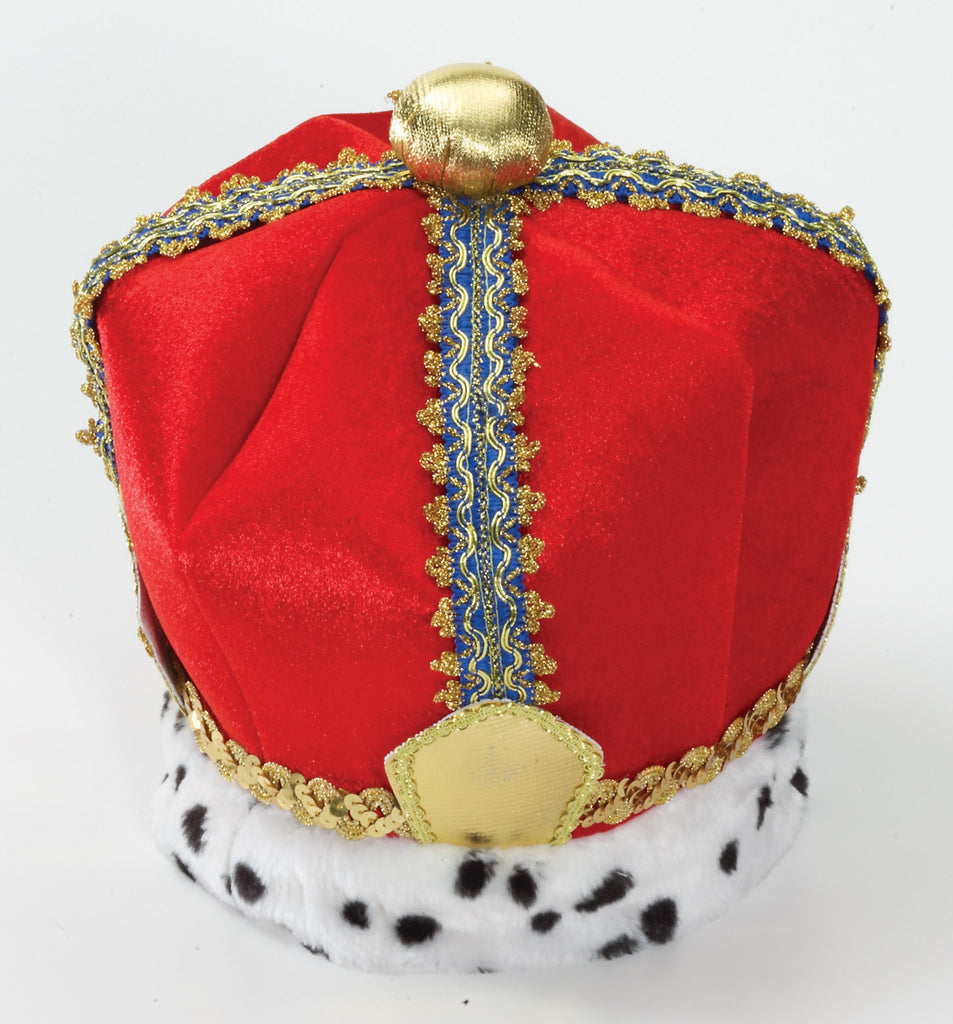 King's Crown Red Velvet Crown Headpiece - HalloweenCostumes4U.com - Accessories