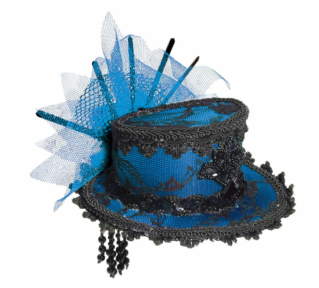 Mini Lace Halloween Hats Blue and Black