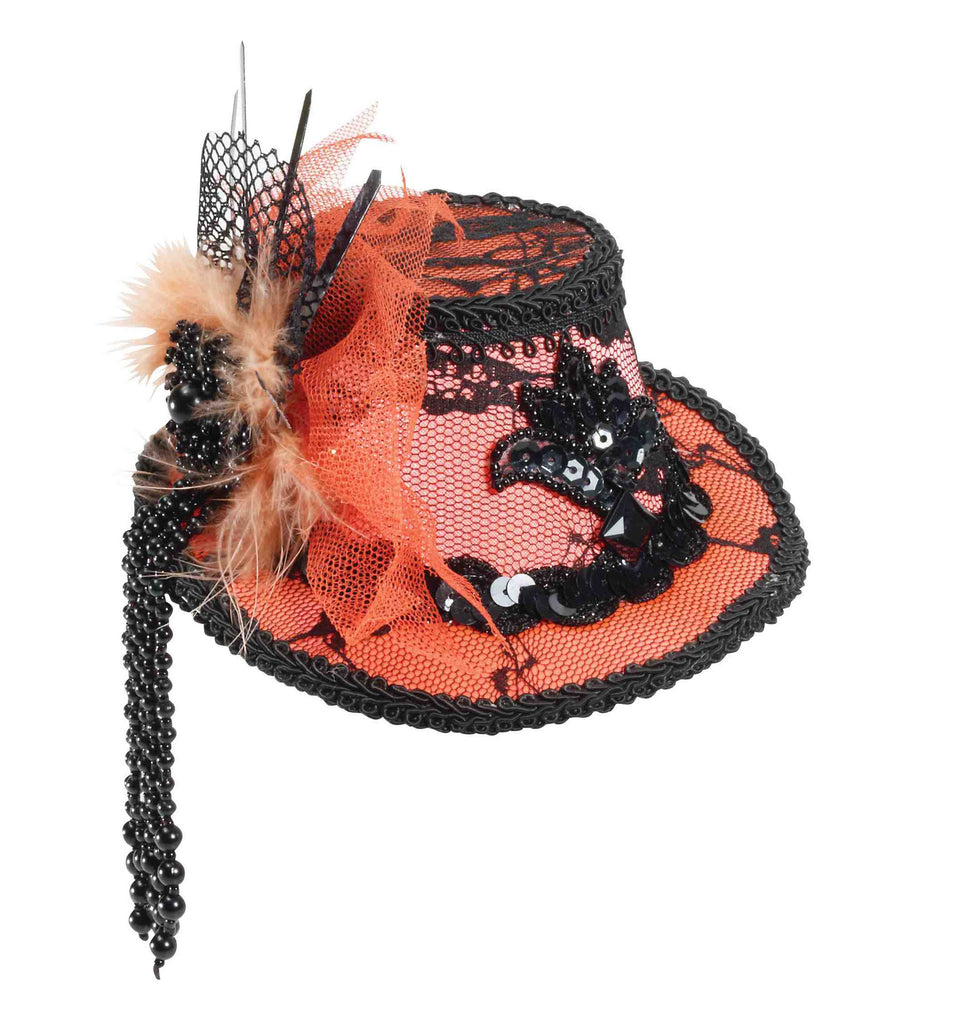Women's Mini Fedora Orange with Black Lace - HalloweenCostumes4U.com - Accessories