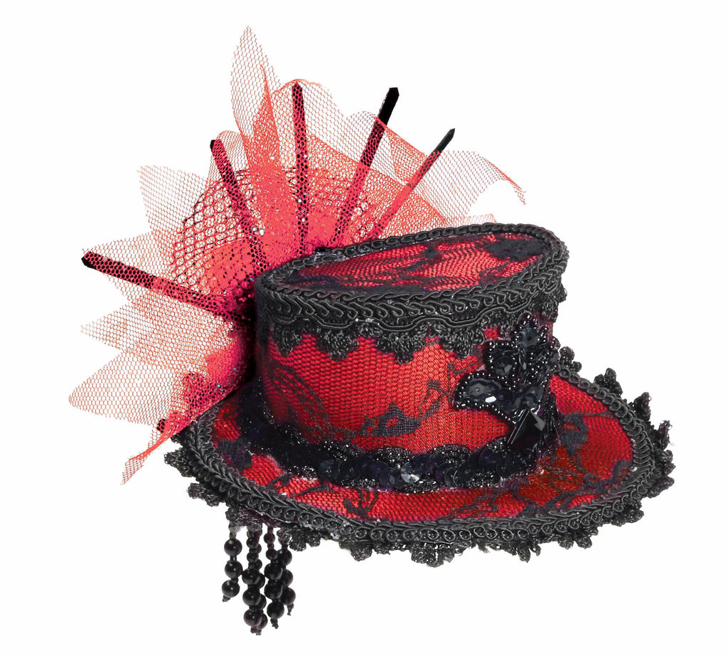 Mini Lace Halloween Hat Red and Black - HalloweenCostumes4U.com - Accessories