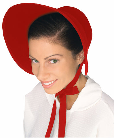 Colonial Lady Bonnet Red - HalloweenCostumes4U.com - Accessories