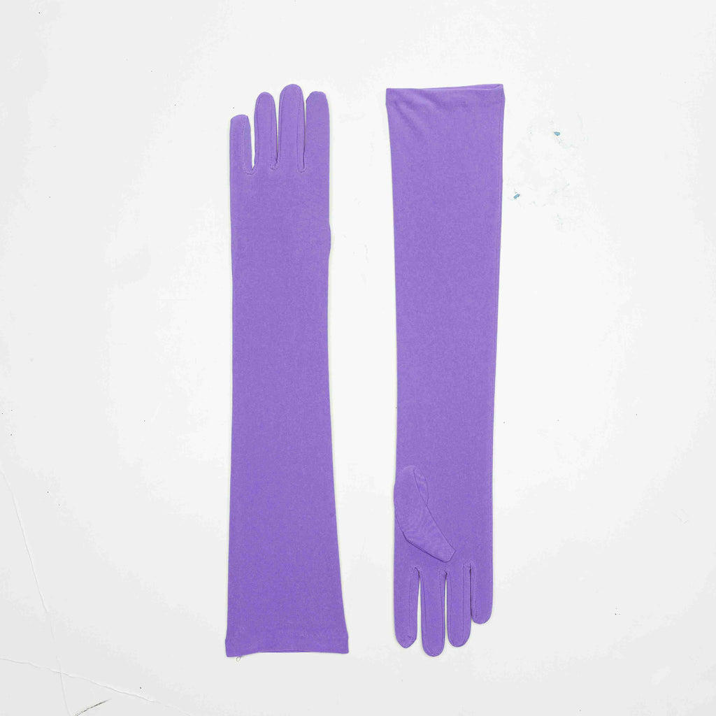 Long Satin Purple Gloves - HalloweenCostumes4U.com - Accessories