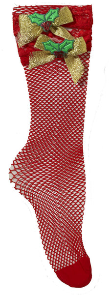 Fishnet Socks W/Mistletoe