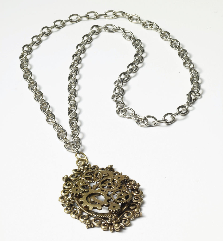 Steampunk Bronze Gear Necklace - HalloweenCostumes4U.com - Accessories