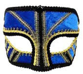 Masquerade Mask Blue and Gold - HalloweenCostumes4U.com - Accessories