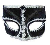 Masquerade Mask Black with Silver - HalloweenCostumes4U.com - Accessories