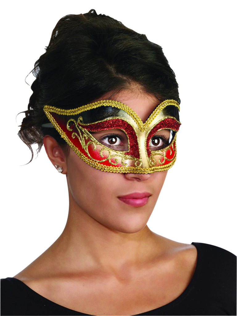Venetian Masquerade Mask Gold/Red - HalloweenCostumes4U.com - Accessories