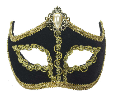 Black & Gold Venetian Mask On Glasses