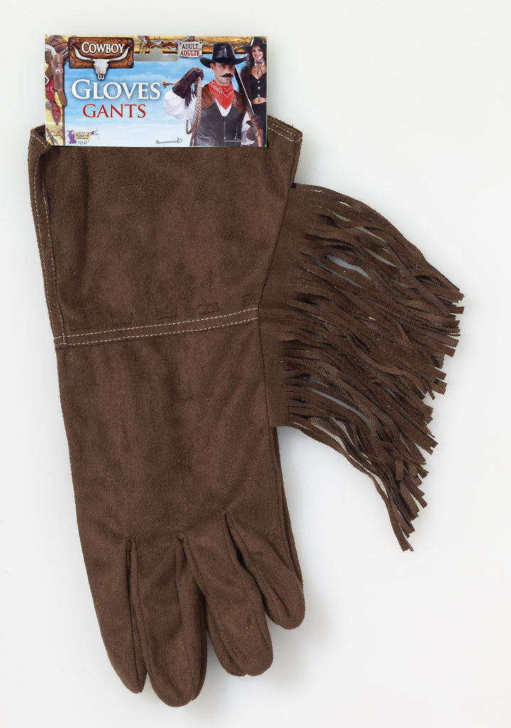 Gloves-Cowboy Fringe-Brown - HalloweenCostumes4U.com - Accessories
