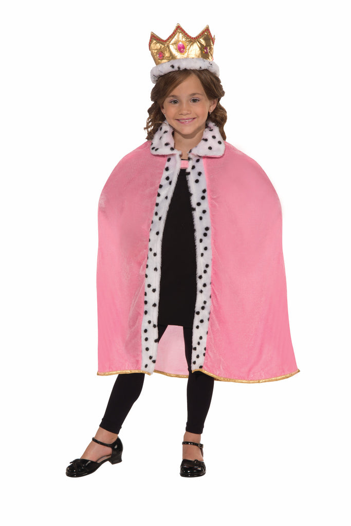 Girls Pink Queen Cape & Crown