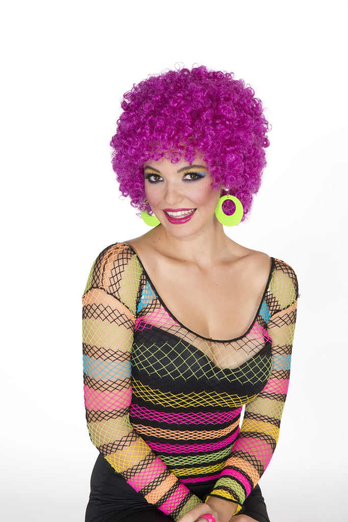 Wig-Afro-Neon Purple - HalloweenCostumes4U.com - Accessories