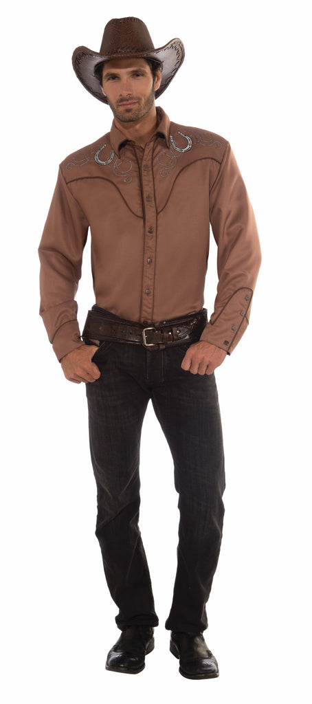 Deluxe Western Shirt-Brown - HalloweenCostumes4U.com - Accessories