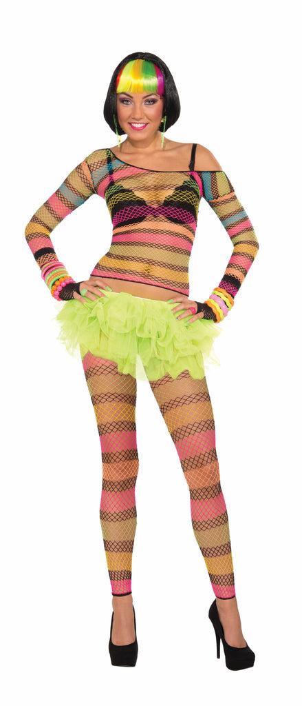 Rainbow Fishnet Leggings-Standard - HalloweenCostumes4U.com - Accessories