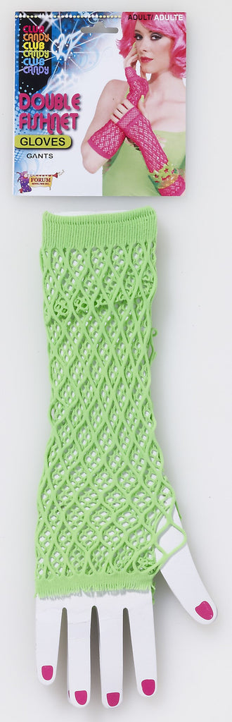 Double Fishnet Gloves-Green - HalloweenCostumes4U.com - Accessories