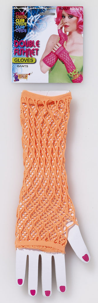 Double Fishnet Gloves-Orange - HalloweenCostumes4U.com - Accessories