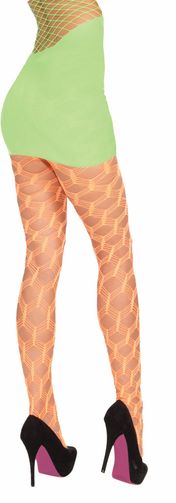 Neon Wide Fish.Pantyhose-Orang - HalloweenCostumes4U.com - Accessories