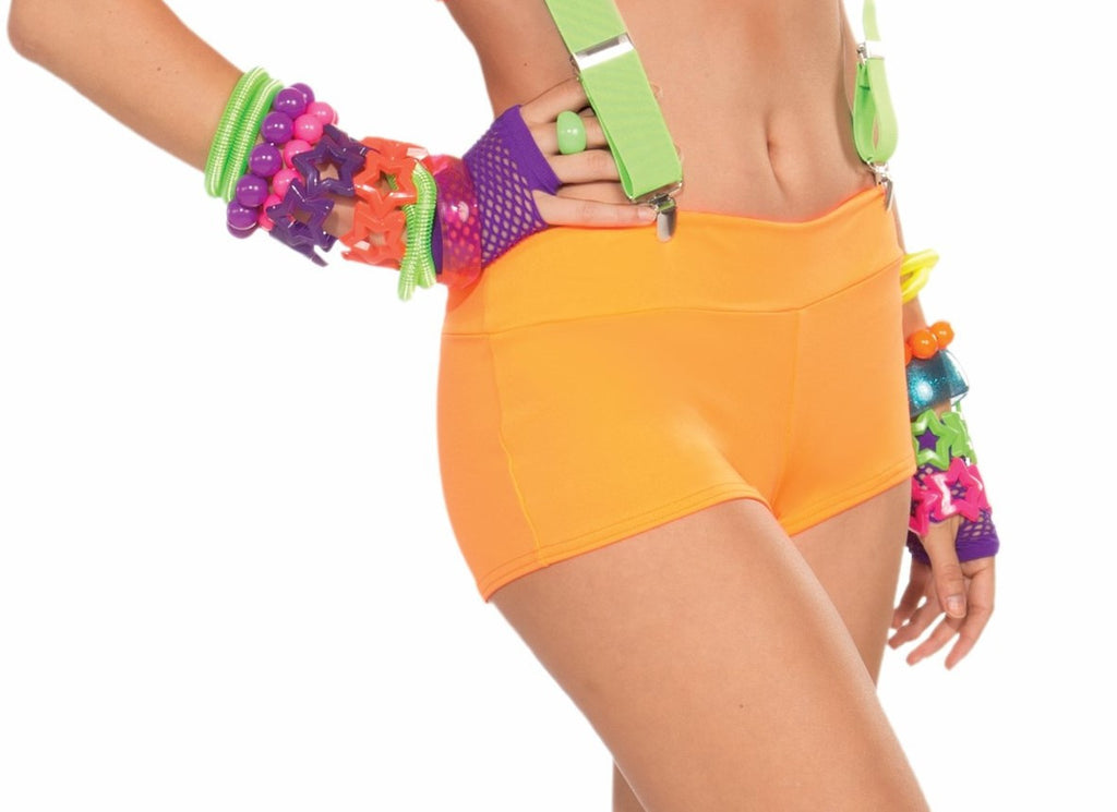 Neon Solid Booty Shorts-Orange