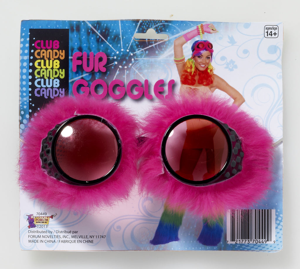 Fur Goggles-Pink - HalloweenCostumes4U.com - Accessories