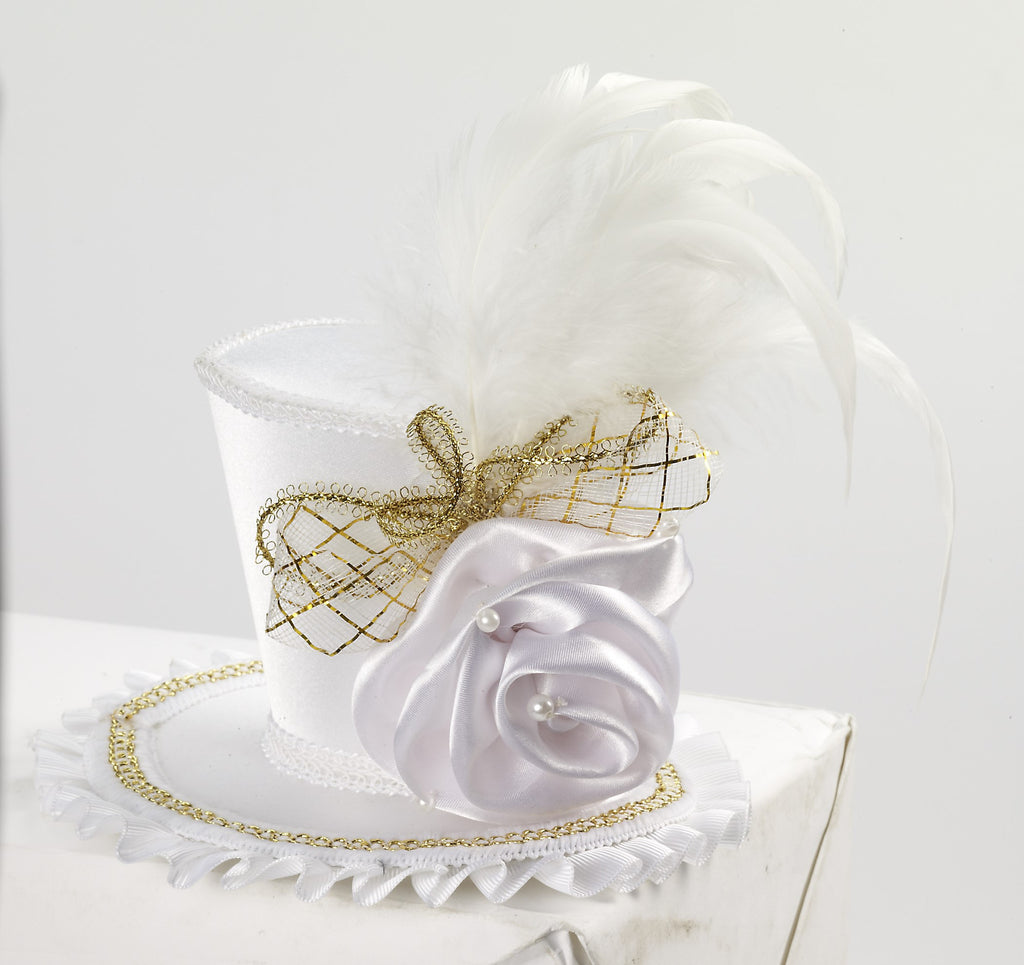 Mini Top Hat W/Rose-White - HalloweenCostumes4U.com - Accessories