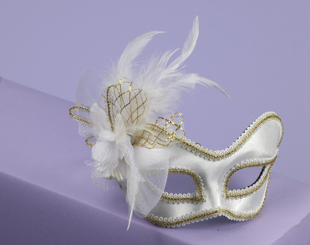 Mask W/Glass.Wht Satin W/Feath - HalloweenCostumes4U.com - Accessories