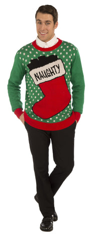 Adults Naughty Stocking Christmas Sweater - HalloweenCostumes4U.com - Adult Costumes