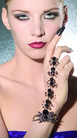 Black Spider Bracelet with Attached Ring - HalloweenCostumes4U.com - Accessories