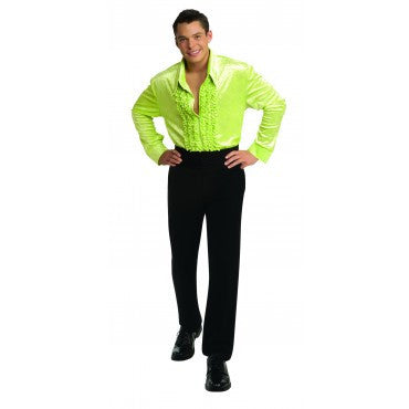 Mens Green Retro Velvet Disco Shirt - HalloweenCostumes4U.com - Adult Costumes