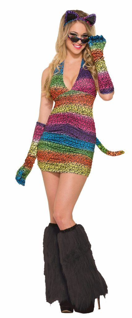 Long Gloves Rainbow Leopard