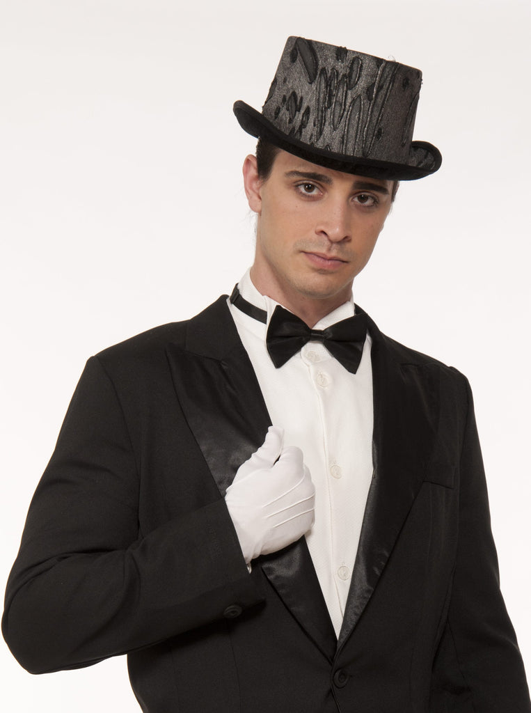 Top Hat-Dark Silver Goth Cloth - HalloweenCostumes4U.com - Accessories