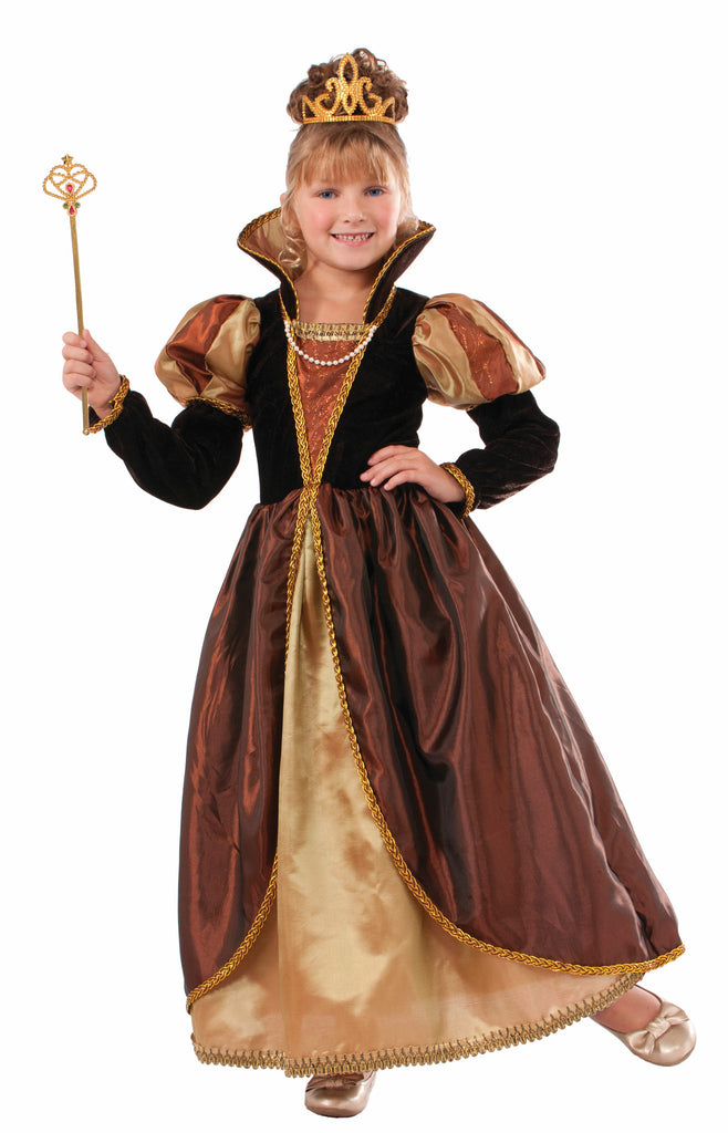 Girls Deluxe Golden Queen Costume - HalloweenCostumes4U.com - Kids Costumes