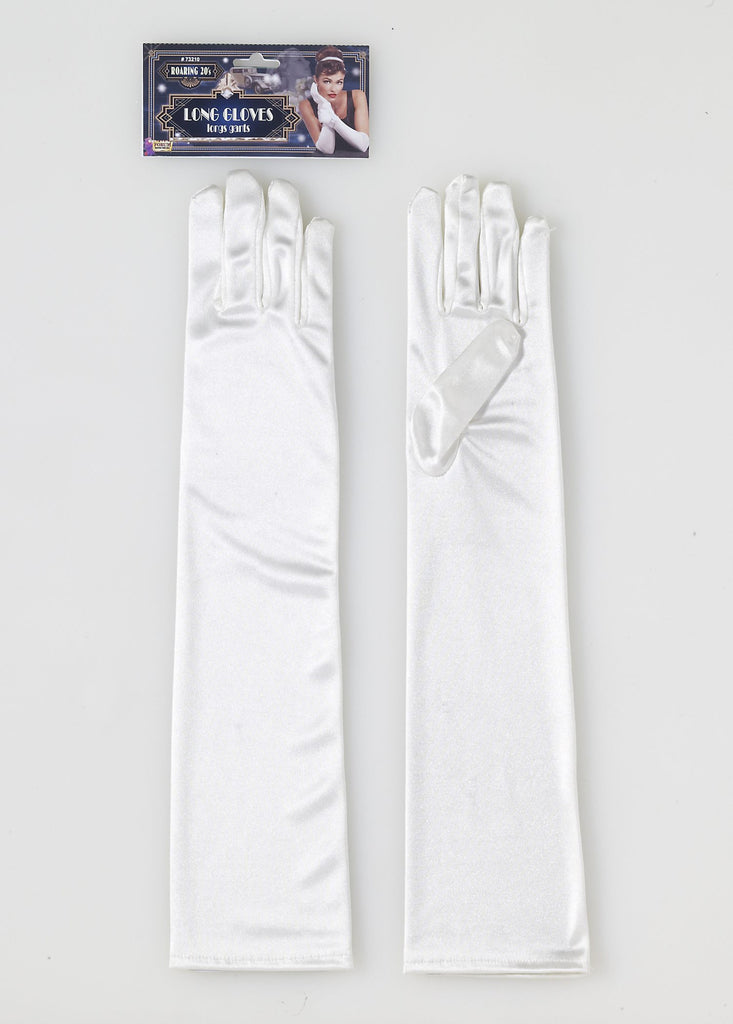 Long Beige Satin Gloves - HalloweenCostumes4U.com - Accessories