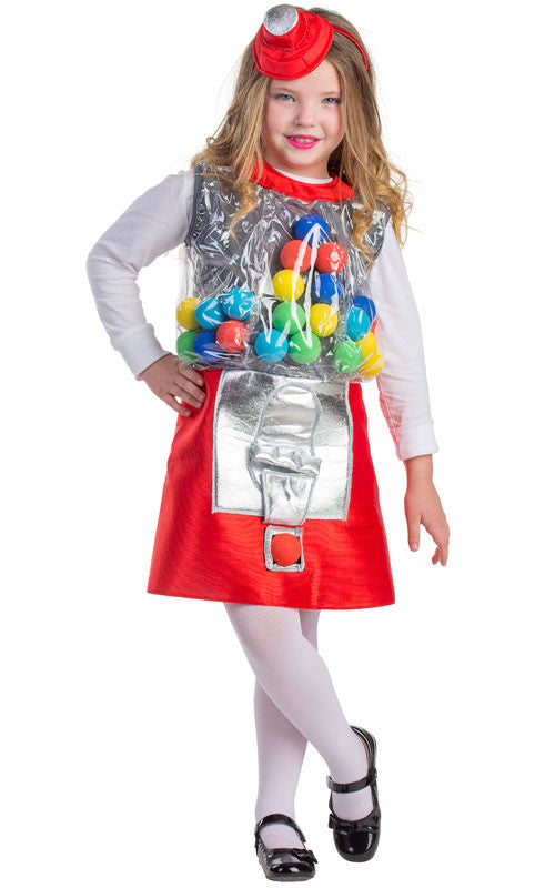 Girls Gum Ball Machine Costume - HalloweenCostumes4U.com - Kids Costumes