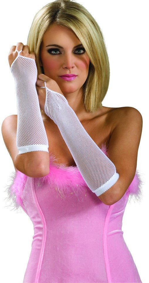 White Fishnet Arm Warmers - HalloweenCostumes4U.com - Accessories