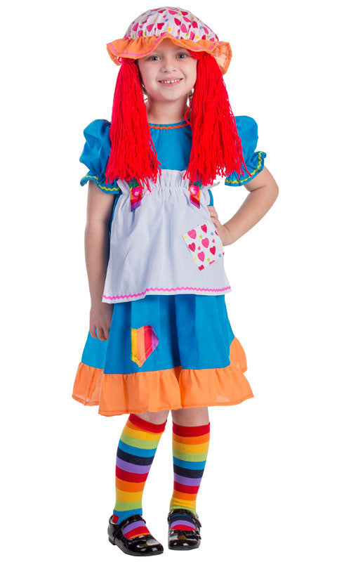 Girls Rainbow Rag Doll Costume - HalloweenCostumes4U.com - Kids Costumes