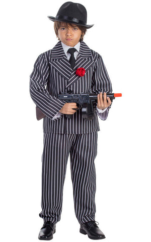 Boys Pinstriped Gangster Costume - HalloweenCostumes4U.com - Kids Costumes
