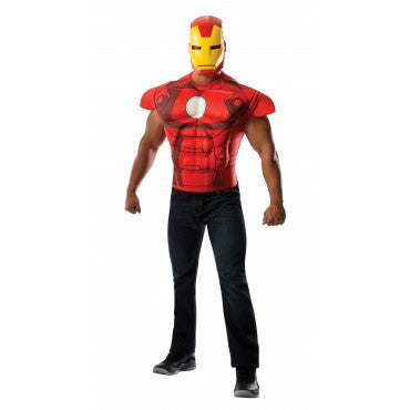 Mens Iron Man Muscle Chest Shirt - HalloweenCostumes4U.com - Adult Costumes