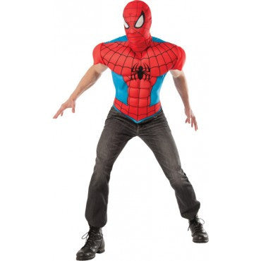 Mens Spider-Man Muscle Chest Shirt and Mask - HalloweenCostumes4U.com - Adult Costumes