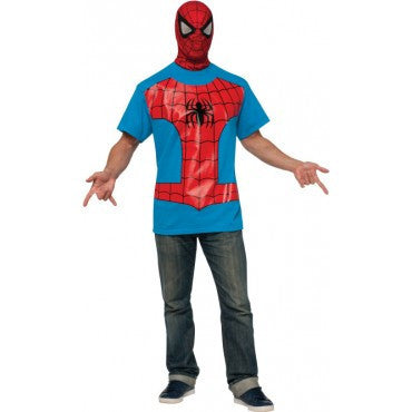 Mens Spider-Man T-Shirt and Mask - HalloweenCostumes4U.com - Adult Costumes