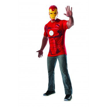 Mens Iron Man T-Shirt and Mask - HalloweenCostumes4U.com - Adult Costumes