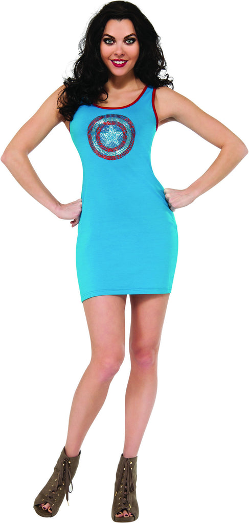 Womens Captain America Rhinestone Tank Dress - HalloweenCostumes4U.com - Adult Costumes