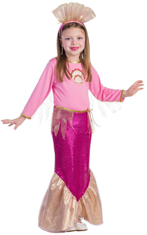 Girls Pink Mermaid Costume - HalloweenCostumes4U.com - Kids Costumes